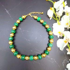 Green & Gold Vintage Trifari Necklace